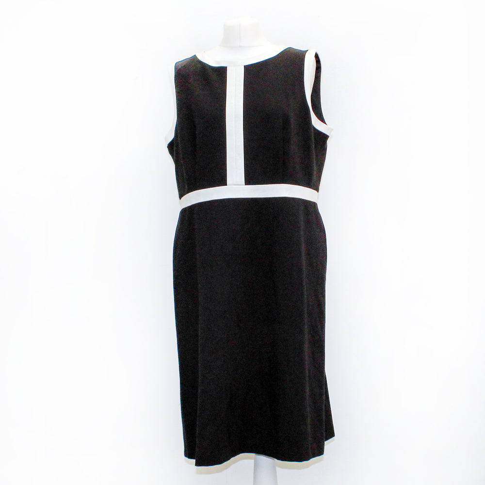 M & S Black and White Sleeveless Dress - Size 18 - New Without Tags