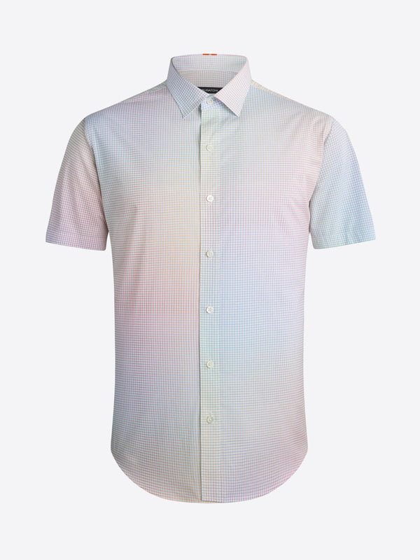 Bugatchi Multicolor Graph Check Print Short Sleeve Shirt - Creme