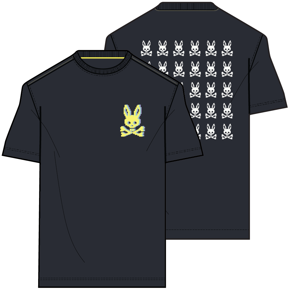 Psycho Bunny Men's Hatton 2-Sided Graphic Tee - Navy