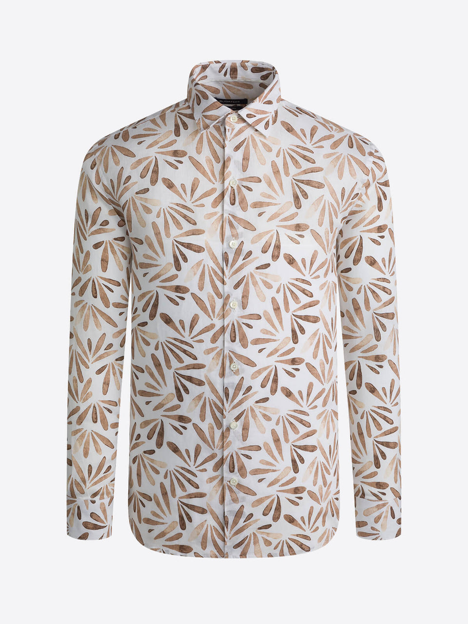 Bugatchi Abstract Print Long Sleeve Shirt - Mocha