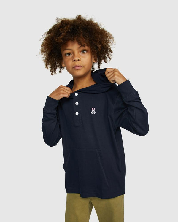 Psycho Bunny Boy's Button Placket Hoodie - Navy