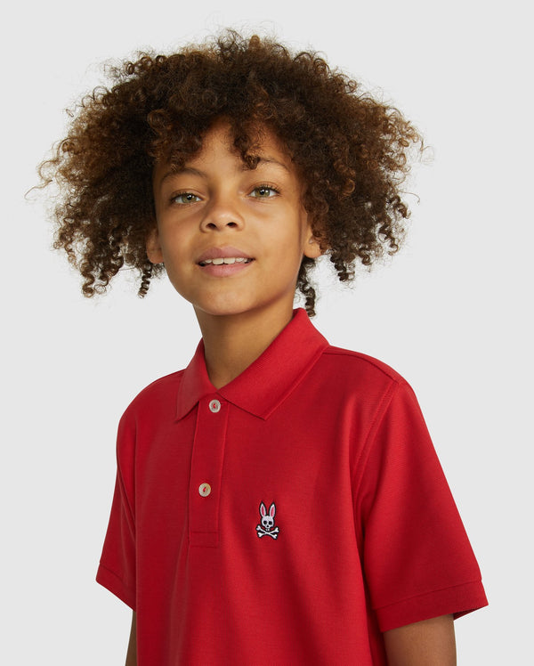 Psycho Bunny Boy's Classic Polo - Brilliant Red