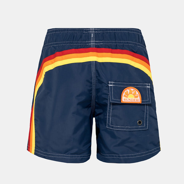 Sundek Boy's Boardshort Elastic Waist Swim Trunks - Vintage Navy
