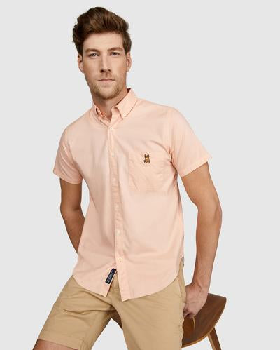 Psycho Bunny Men's Atmore Oxford Shirt - Neon Flame
