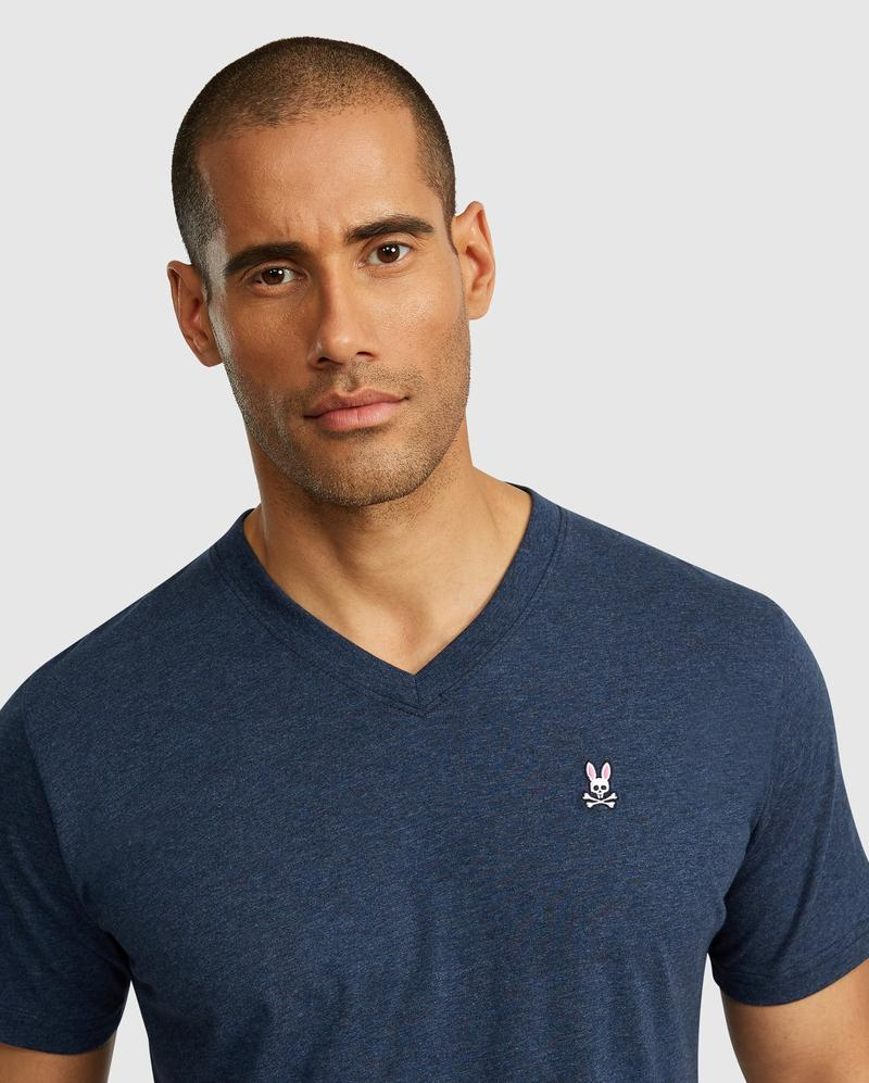 Psycho Bunny Men's V-Neck Tee - Heather Navy