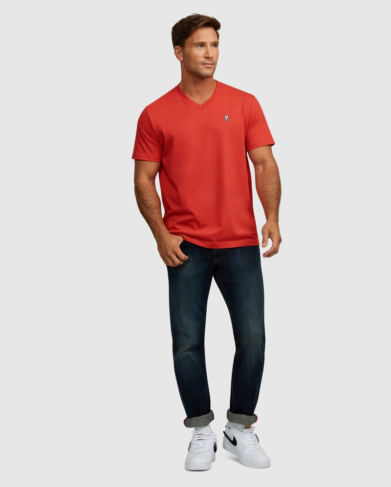 Psycho Bunny Men's V-Neck Tee - Brilliant Red