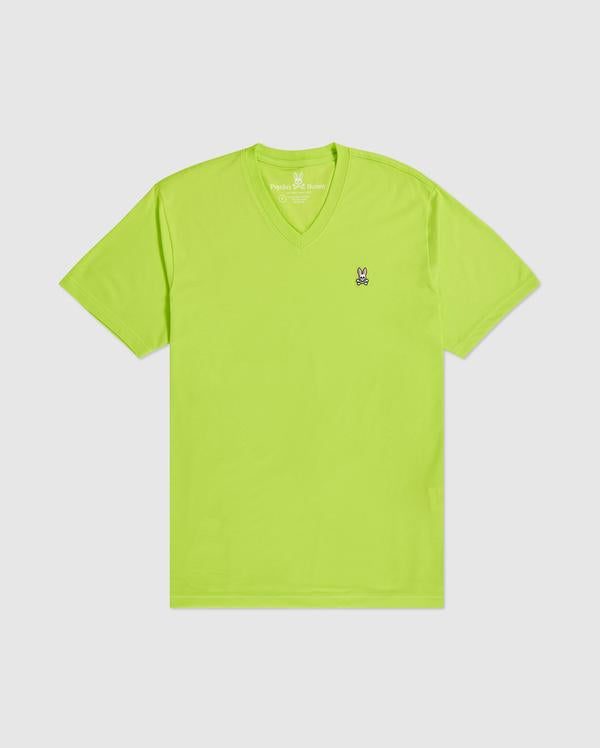Psycho Bunny Men's V-Neck Tee - Electric Lime