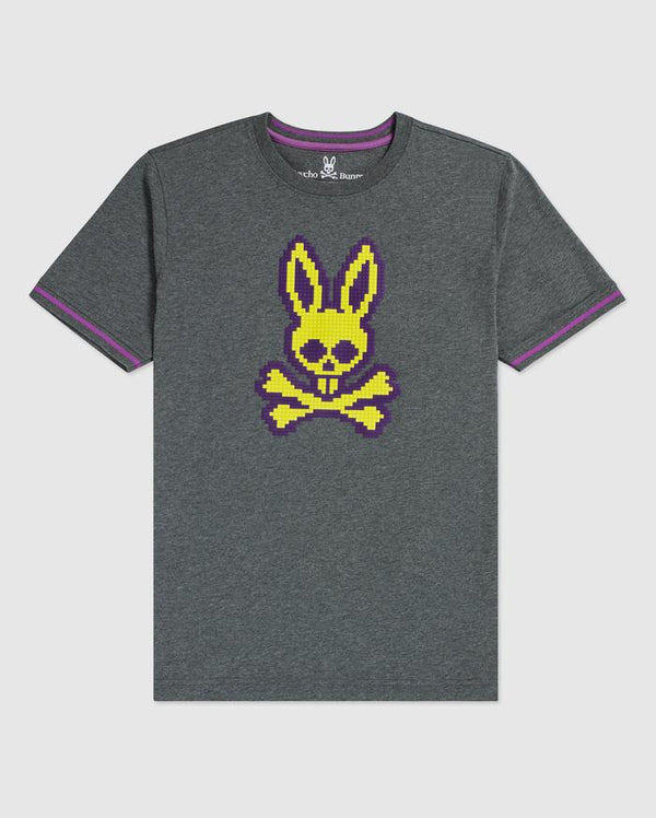 Psycho Bunny Boy's Hatton Graphic Tee - Heather Silver