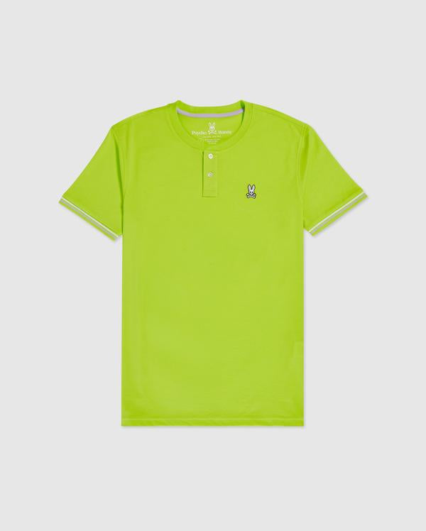 Psycho Bunny Men's Ridings Henley Tee - Electric Lime