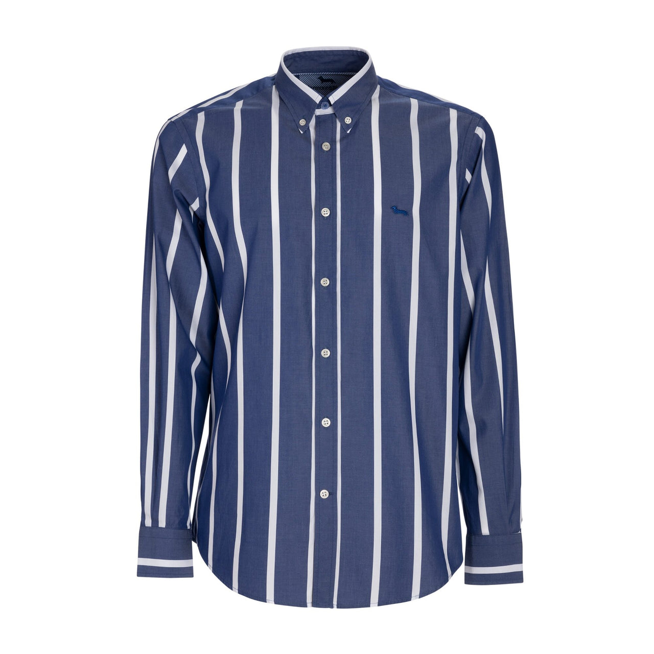 Harmont & Blaine Wide Striped Poplin Shirt - Blue