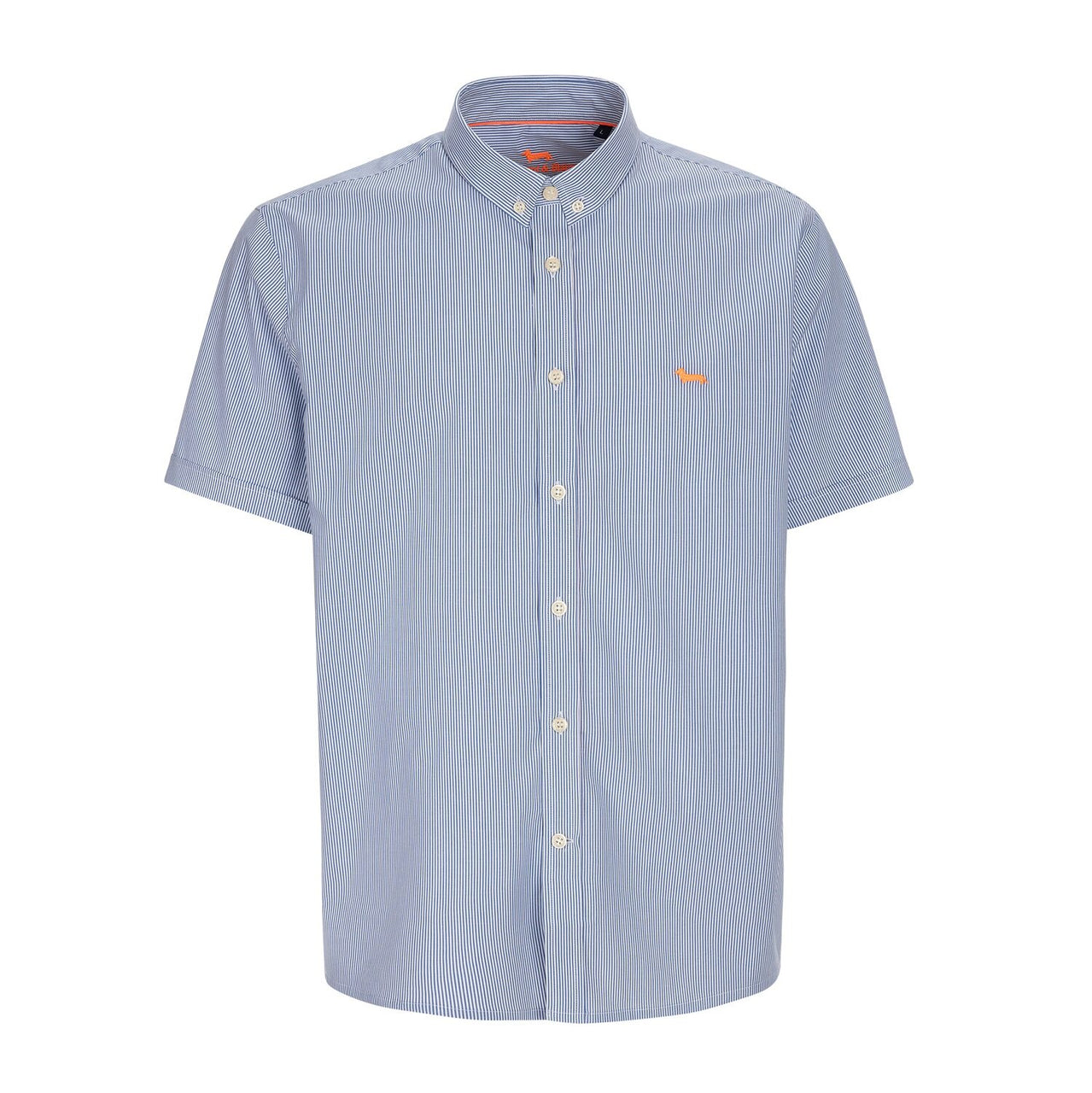 Harmont & Blaine Striped Short Sleeve Shirt - Blue