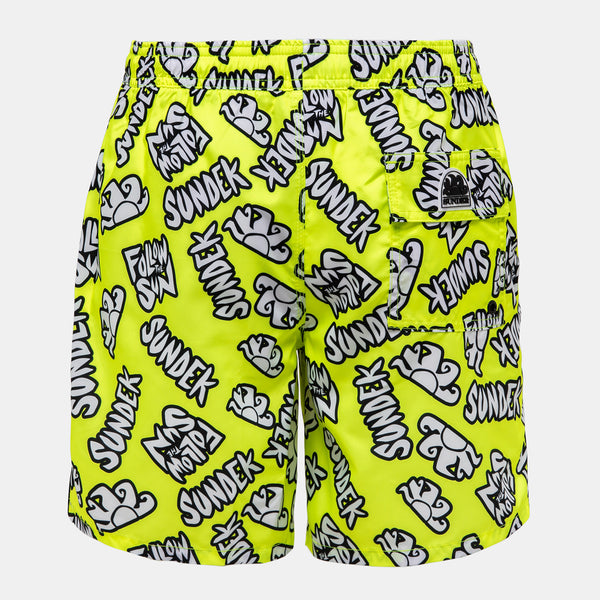 Sundek Men's Mid-Length Swim Trunks - Yellow Graphic