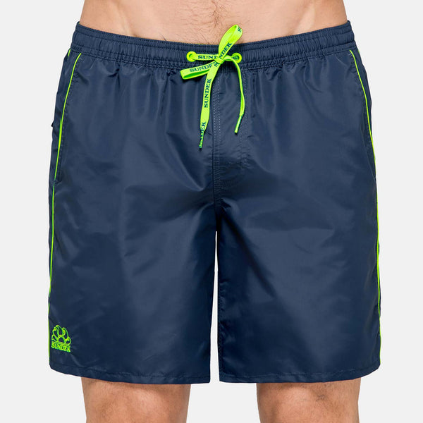 Sundek Men's Solid Mid-Length Swim Trunks - Navy