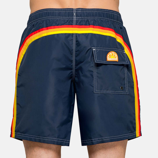 Sundek Men's Rainbow Mid-Length Swim Trunks - Vintage Navy