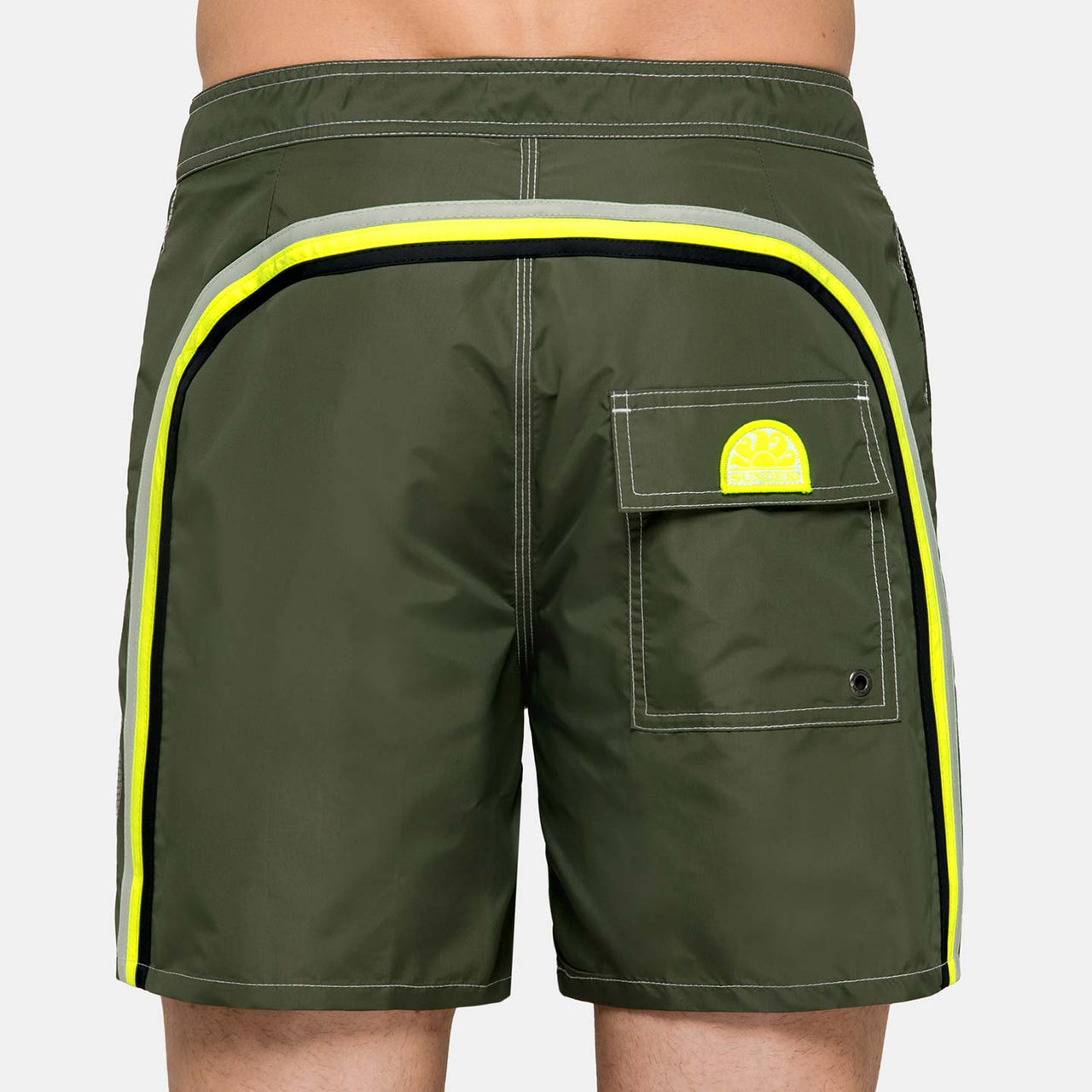 Sundek Men's Rainbow Mid-Length Swim Trunks - Dark Army Green