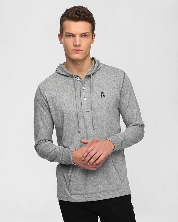 Psycho Bunny Men's Button Placket Hoodie - Heather Grey