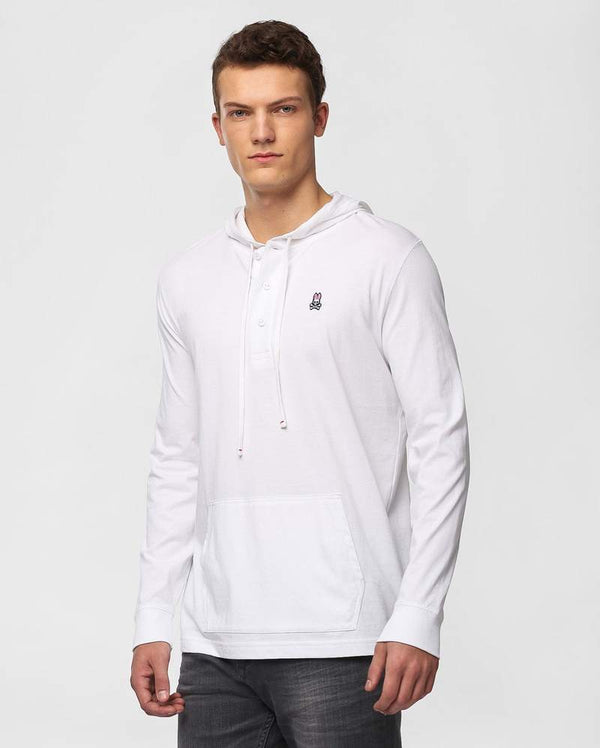 Psycho Bunny Men's Button Placket Hoodie - White