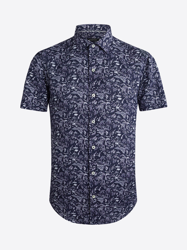 Bugatchi Sails Linen Print Short Sleeve Shirt - Deep Navy