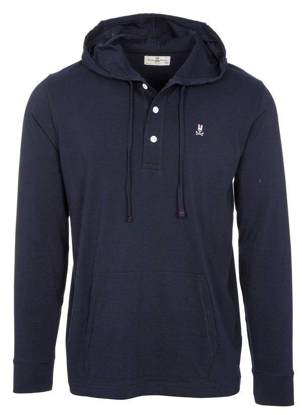 Psycho Bunny Men's Button Placket Hoodie - Navy