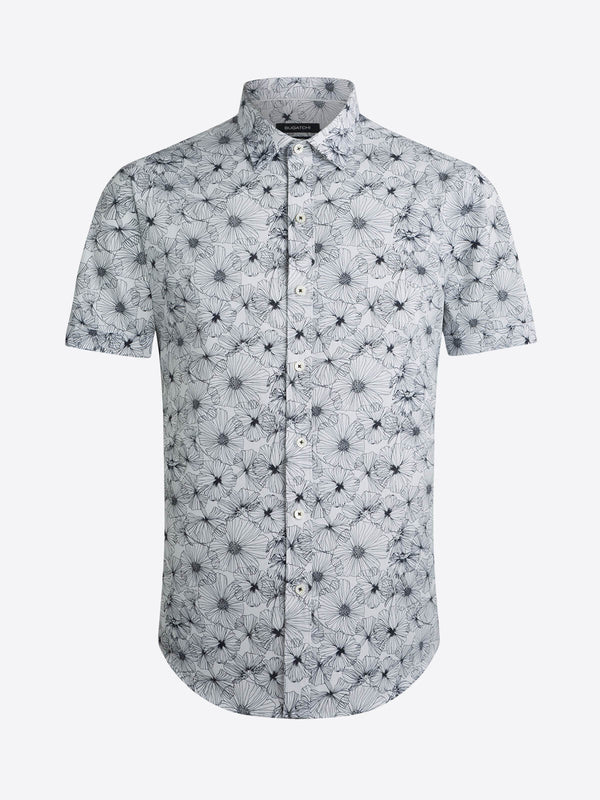 Bugatchi Floral Print Short Sleeve Shirt - White