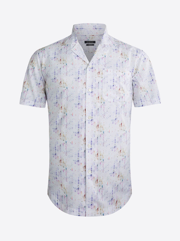 Bugatchi Abstract Streaks Print Short Sleeve Shirt - Multi