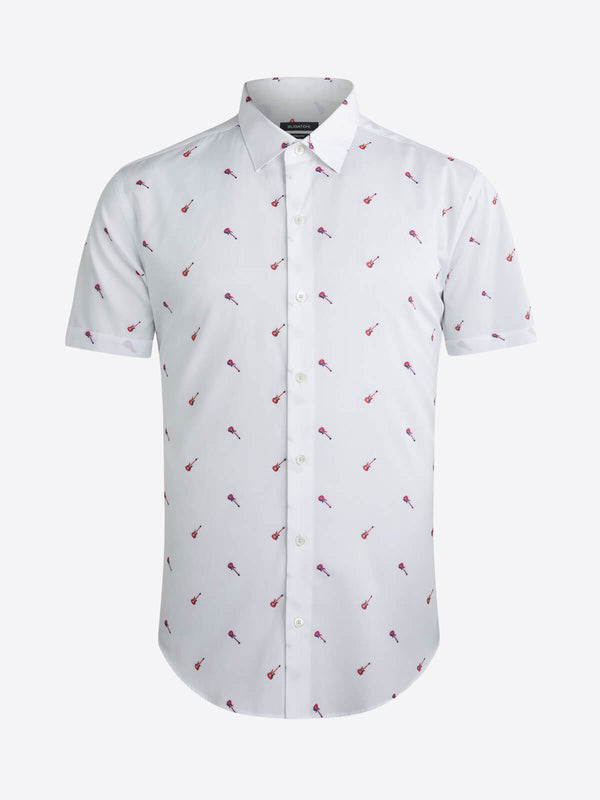 Bugatchi Guitar Fil Coupe Print Short Sleeve Shirt - White