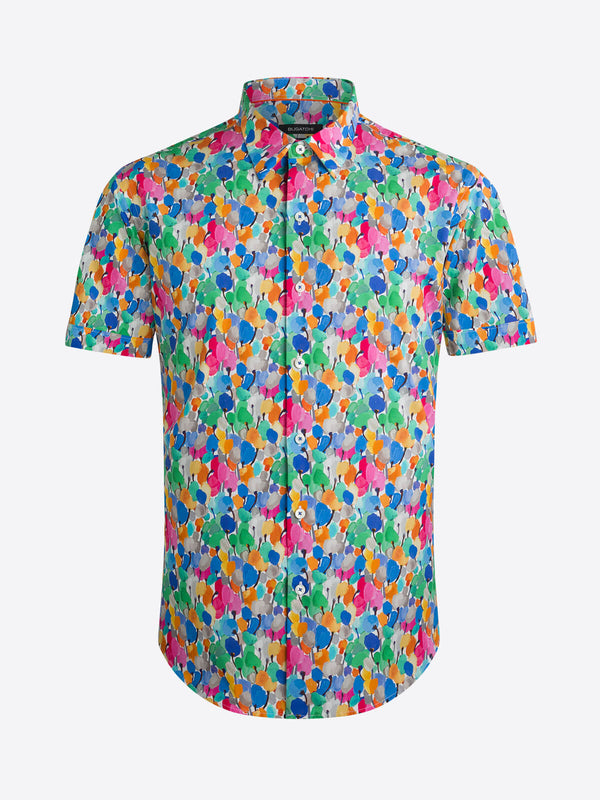 Bugatchi Floral Print Short Sleeve Shirt - Candy