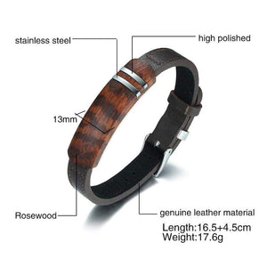 Treat Jungle Minimalist Rosewood Leather Bracelet 8483996