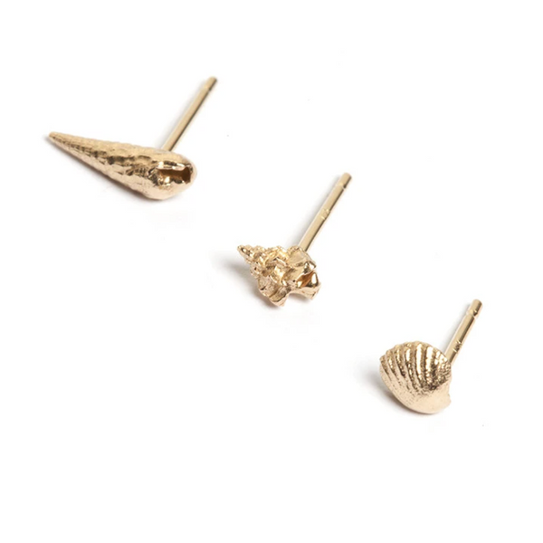Gold Coastline Stud Earrings