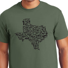 Load image into Gallery viewer, Military Green Texas Gun State Shirt military weapons