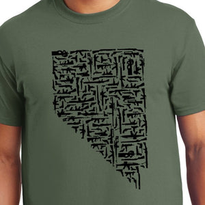 Nevada Gun State Shirt Weapons Military