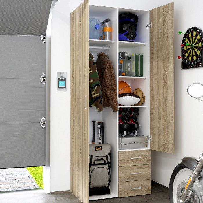 Space 2 Doors 3 Drawers Wardrobe in Oak or Oak & White