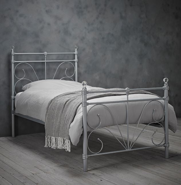 Sienna Single Silver Metal Bed 3'0 with sprung mattress