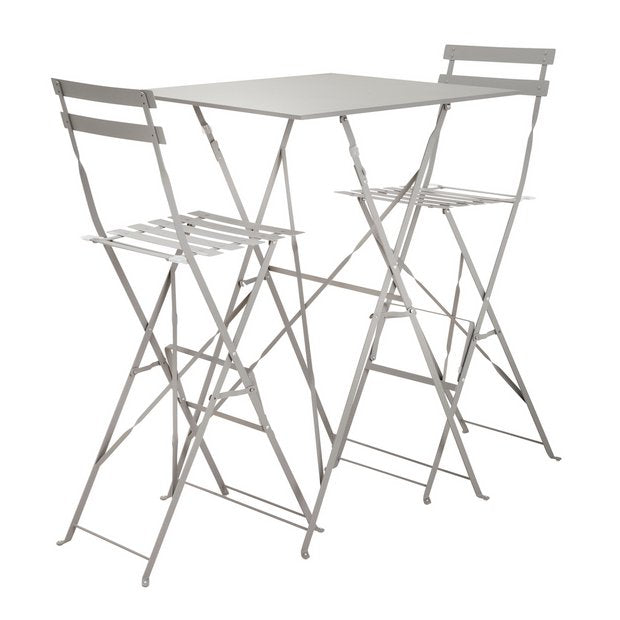 Eve 2 Seater Bar Bistro Set - Grey