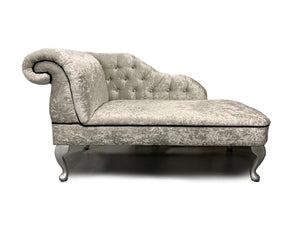 Chesterfield Chaise Lounge Plush Silver or Charcoal