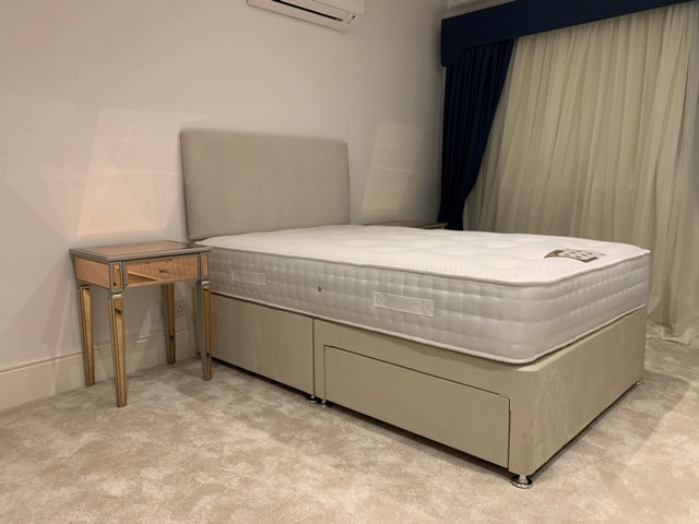 4'6 Silk 1000 Pocket Dual Season Divan Set + 2 Drawers + Headboard