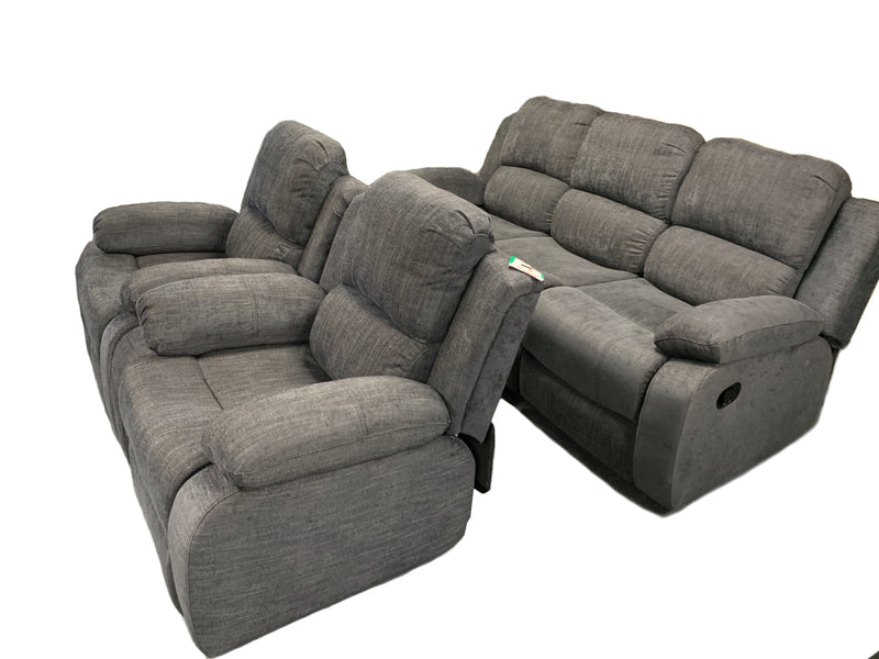 Charcoal Fabric Sofa Set Recliner
