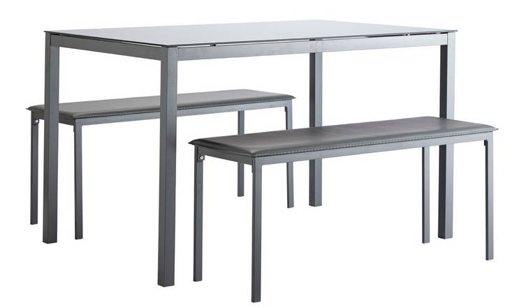 Lido Glass Dining Table & 2 Grey Benches