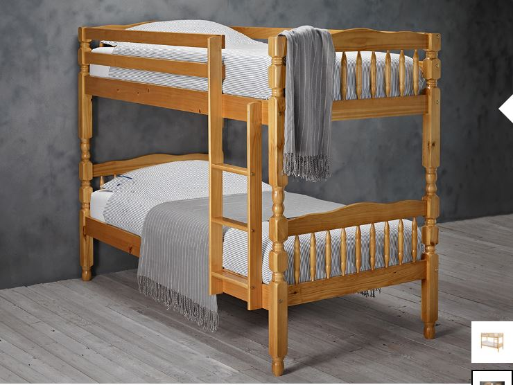 Melissa Solid Pine Bunk Bed + 2 Sprung Mattress