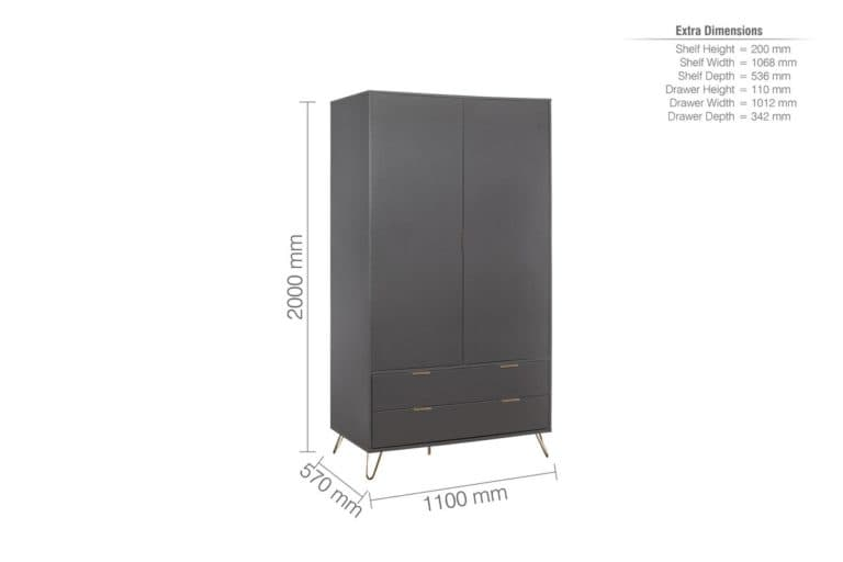 Arlo 2 Door 2 Drawer Wardrobe