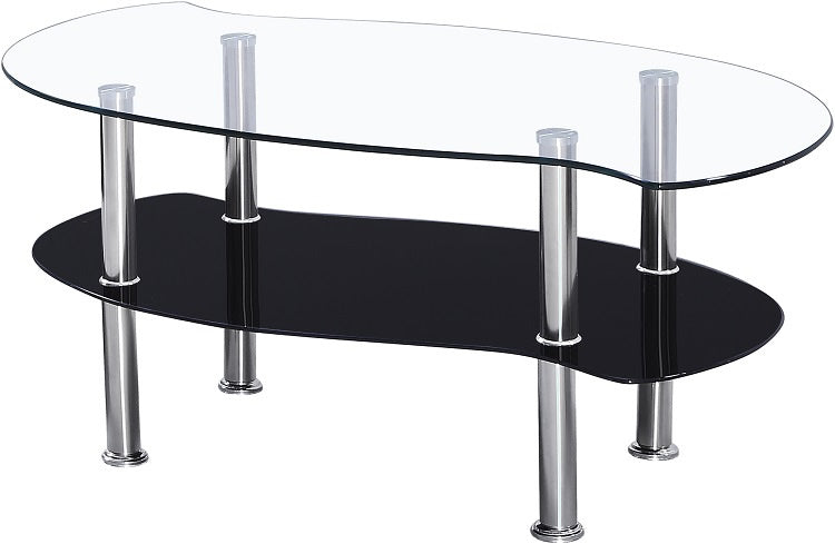 Colby Coffee Table - Clear Glass/Black Glass