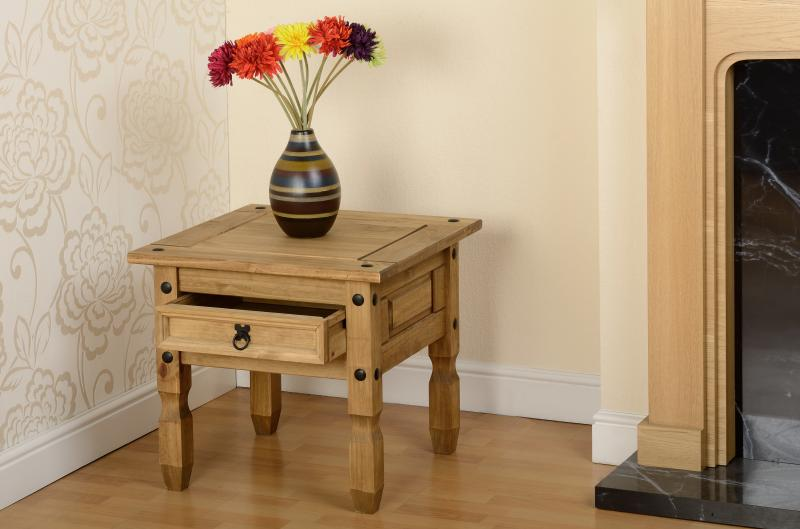 Corona 1 Drawer Lamp Table - Distressed Waxed Pine