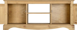 Corona 2 Door 1 Shelf Flat Screen TV Unit - Distressed Waxed Pine