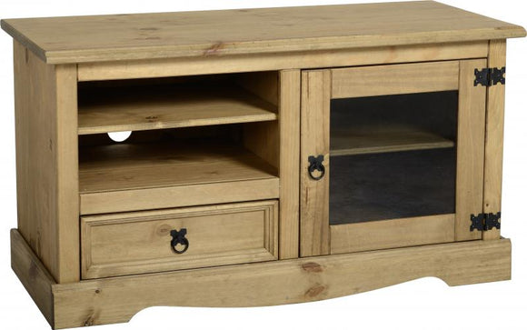 Corona Entertainment Unit - Distressed Waxed Pine