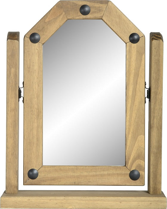 Corona Single Swivel Mirror - Distressed Waxed Pine