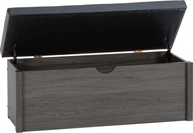 Lisbon Blanket Box - Black Wood Grain
