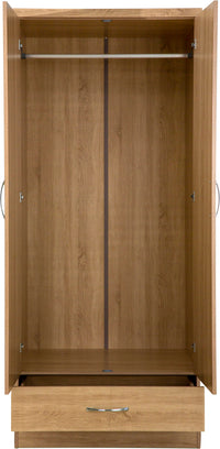 Nevada Mirrored 2 Door 1 Drawer Wardrobe