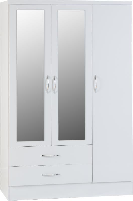 Nevada 3 Door 2 Drawer Mirrored Wardrobe