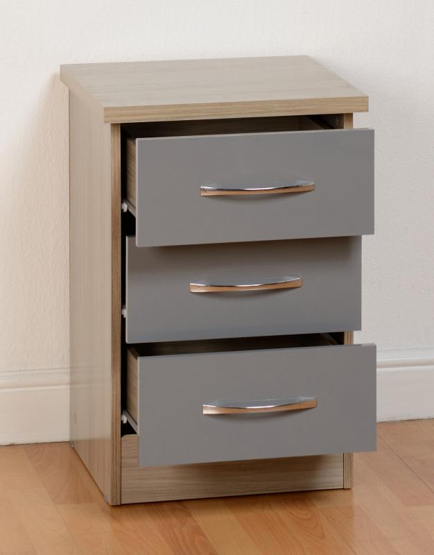 Nevada 3 Drawer Bedside