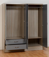 Nevada 4 Door 2 Drawer Mirrored Wardrobe